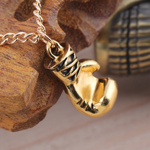 Hot Stylish Fashion Wholesale Gold/Silver Unisex  Stainless Steel Lovely Mini Boxing Glove Necklace Boxing match Jewelry pendant