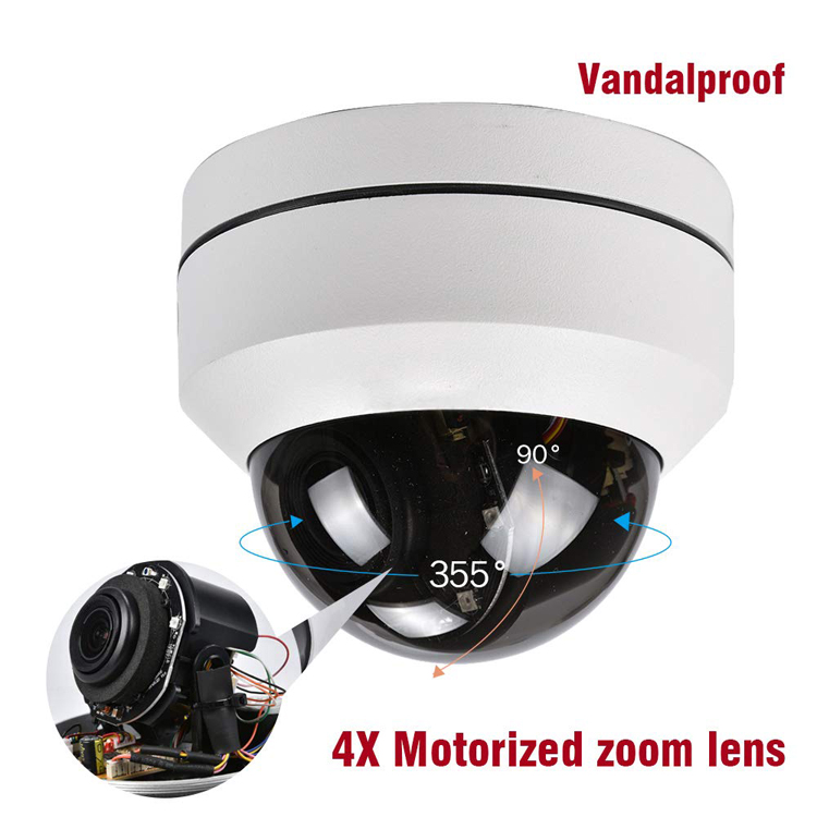 Onvif P2P PTZ POE Camera Outdoor 45M IR Distance IP67 Waterproof WIth 2.8-12MM Lens