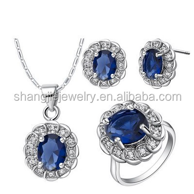 African Copper Plating Gold Dark Blue CZ Jewelry Set