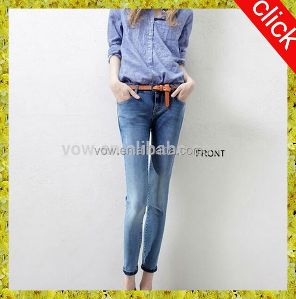 Sex ladies latest design skinny women jeans chinese manufacturers in wholesale price denim pants
