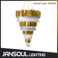 Luxury golden finish G9 led modern chandelier crystal pendant light