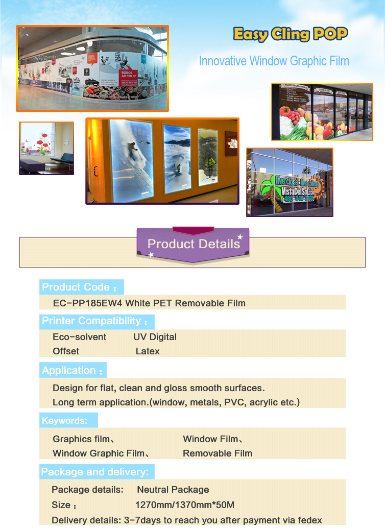 Innovative Window Graphic film--Universal White PP Removable Film EC-PP185EW4 for Glass Decoration Advertising