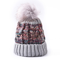 Hot sale new knitting hat korean version outdoor plus plush thickened wool pompom beanie cap