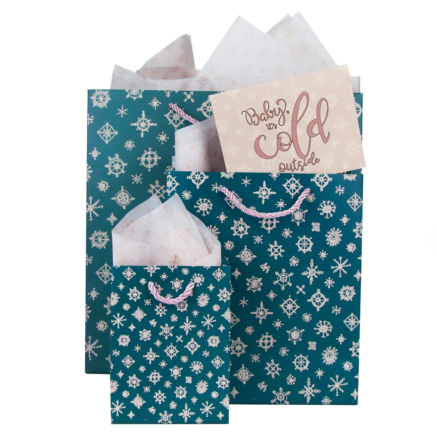 Gift Bags (3 ct) with Tissue Paper, Greeting Cards and Envelopes. Perfect Winter Gift Bags with Snowflakes. Large Gift Bag for Women and Kids in 3 Sizes (Large, Medium, and Small). Unique Design!