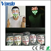 10 colors PVC material One Size V Shape Light Up Mask Halloween LED Wire Mask