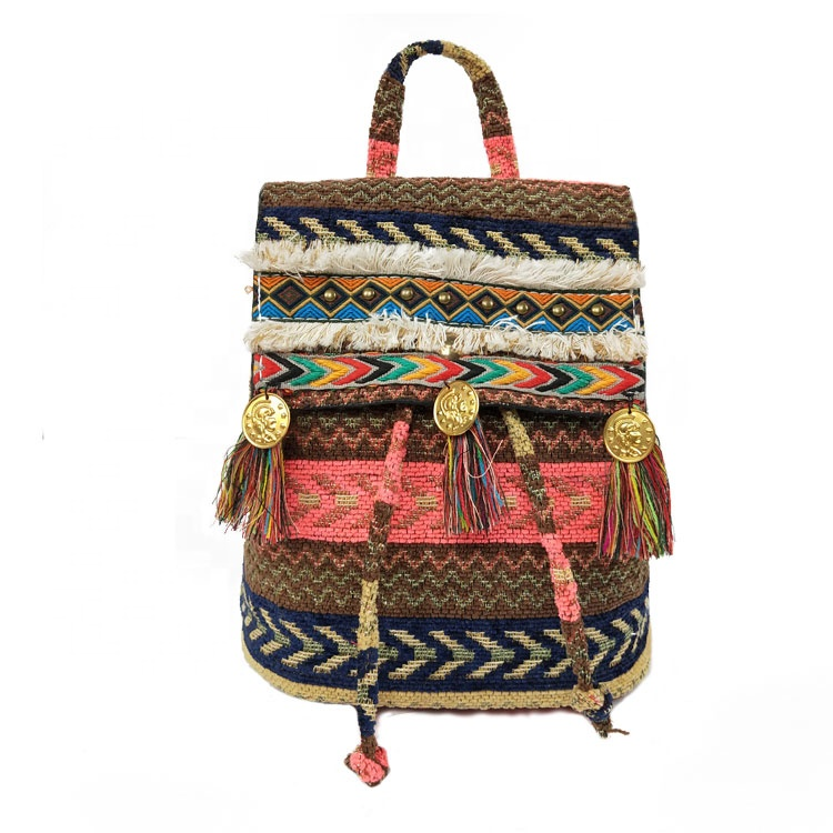 2019 New Arrival Latest Design Bohemian Style Cotton Ladies  Ethnic Double Use Backpack Bag