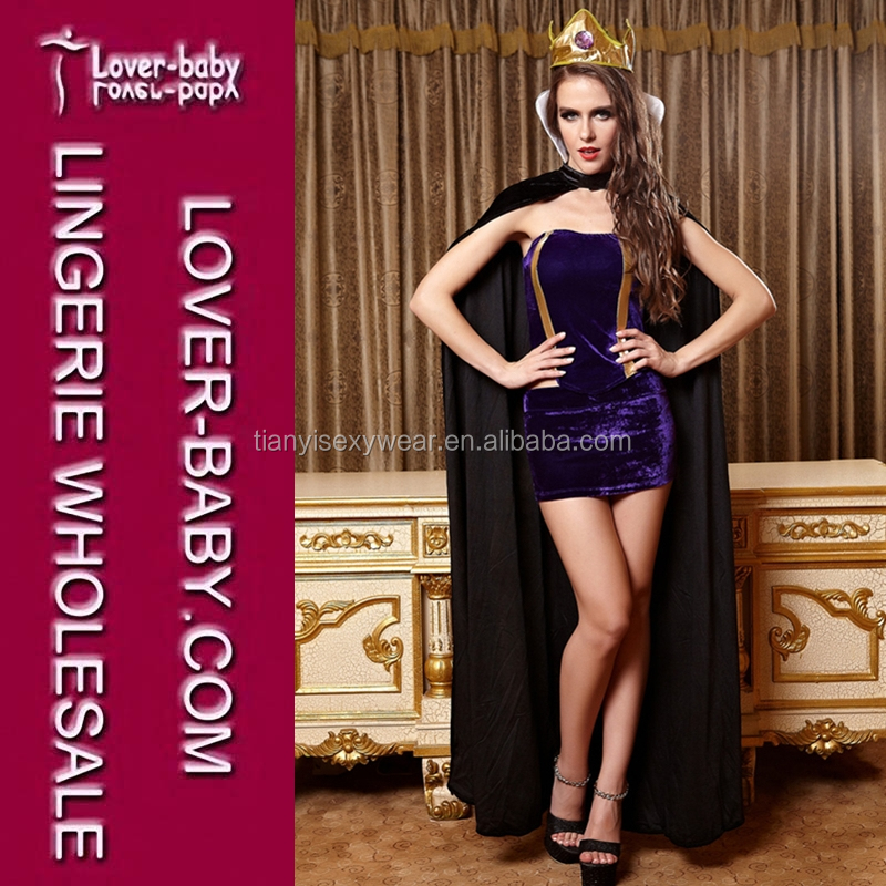 Purple Velvet Bandeau Top and Headwear Woman Mechante Queen Costume Snow White Halloween Queen Outfit
