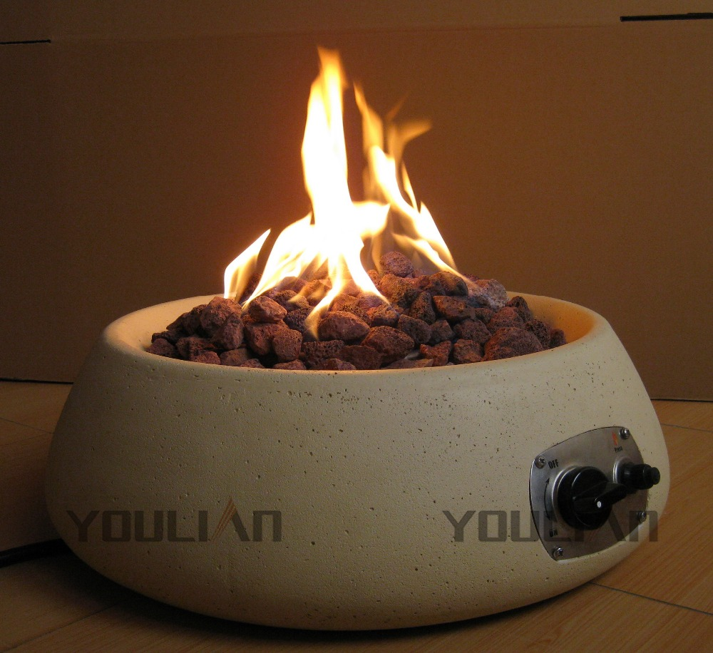 Decorative table top Bowl shaped <strong>gas</strong> fire pit with round burner <strong>kit</strong>