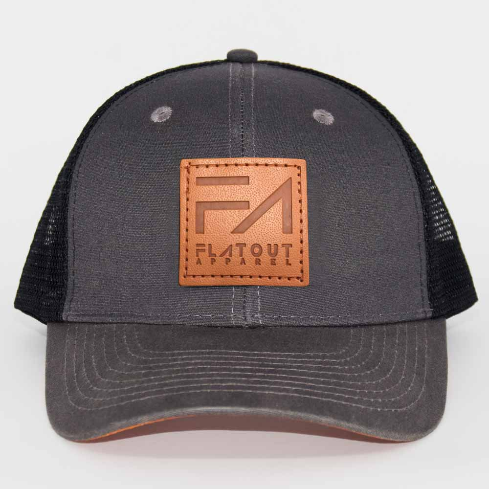 Custom made dark grey canvas 6 panel trucker <strong>hat</strong> leather patch for <strong>hat</strong>