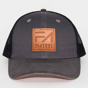 b3c6f8a5801 Custom made dark grey canvas 6 panel trucker hat leather patch for hat