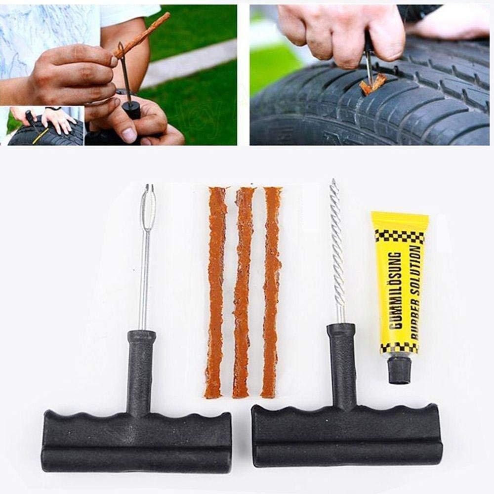 Sbeautli 6pcs Practical Bike Auto Car Tire Repair Kit Cement Tool Puncture Plug Tubeless Tyre