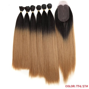 High quality one donor brazilian hair ombre bundles with closure nina synthetic prices