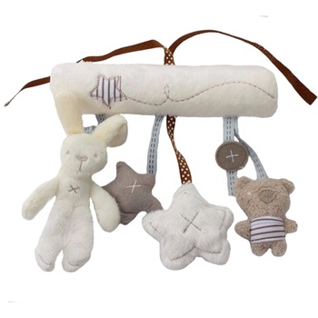 Baby hanging bell with BB baby bed safety seat plush toy Hand Bell Multifunctional bed Plush Toy Stroller baby hanging toy
