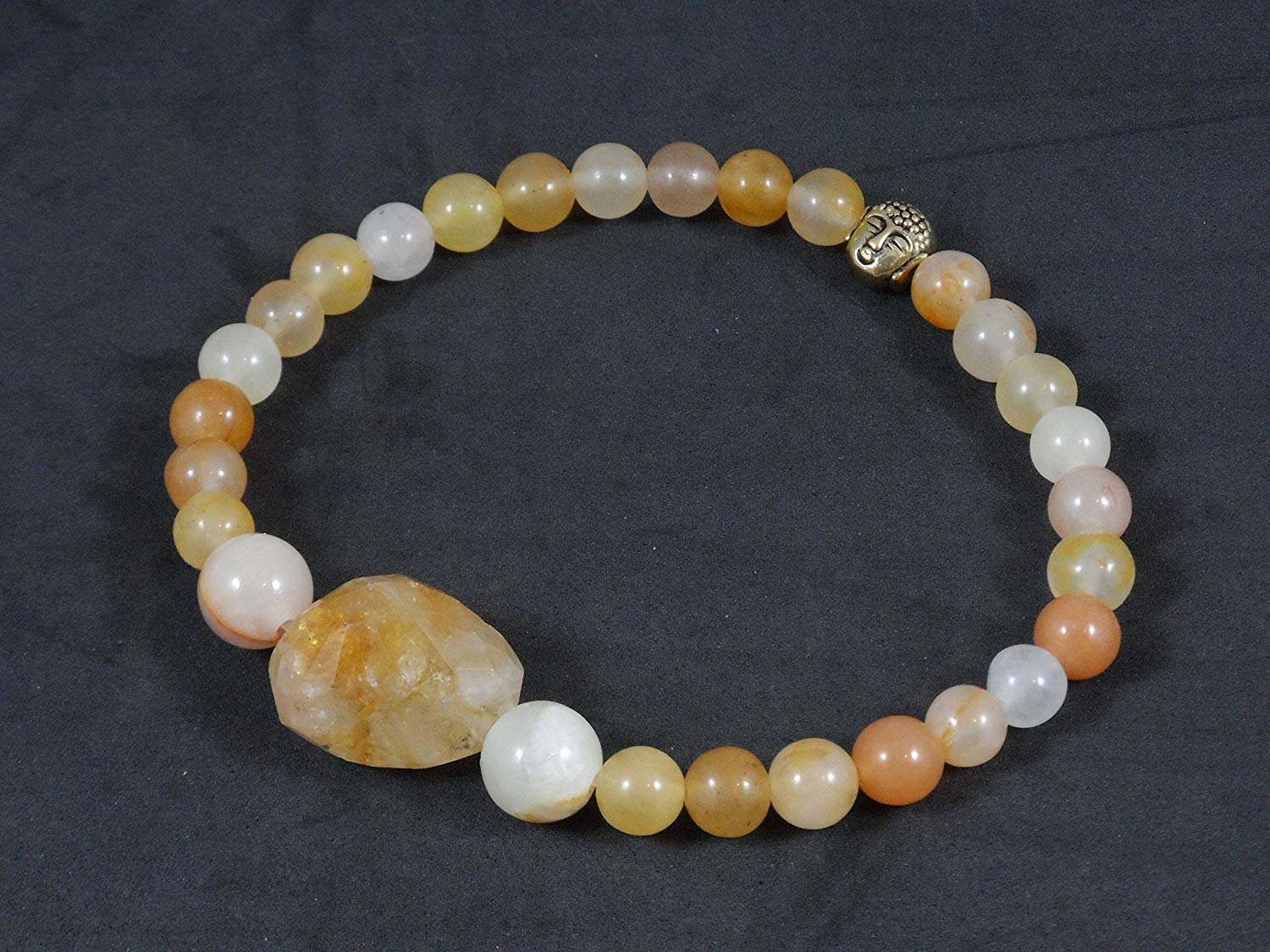 8mm, 6mm and 17 x 14mm Nugget Citrine with Gold Toned Siddhartha