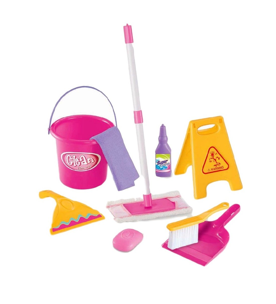Little Treasures Little Helper 9 piece pretend and play Cleaning Play Set with floor mop, squeegee, soap, detergent, bucket, dustpan and brush, towel and wet floor warning sign