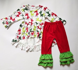 Newest design christmas deer baby clothes wholesale price girls long sleeve boutique outfits