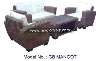 Terlihat Modern Desain Rotan Sectional Sofa Set Dengan Meja Kopi