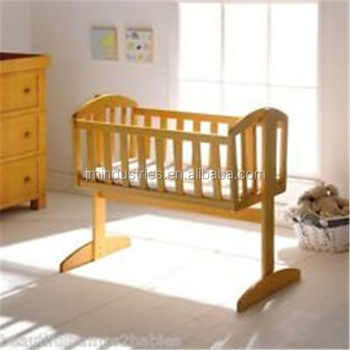classic design white pine wood baby crib swing cradle