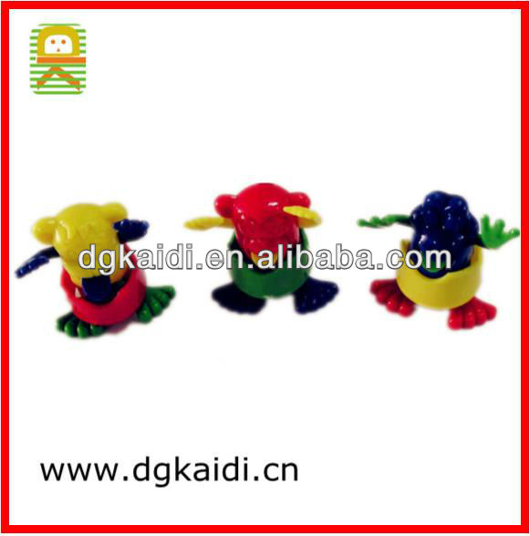Plastic toy self-assembling frog for promotional