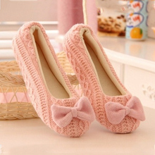 Lovely Lady Home Floor Soft Women Slippers Outsole Cotton-Padded Bow Shoes Female Cashmere Warm Casual Shoes Size 37-39