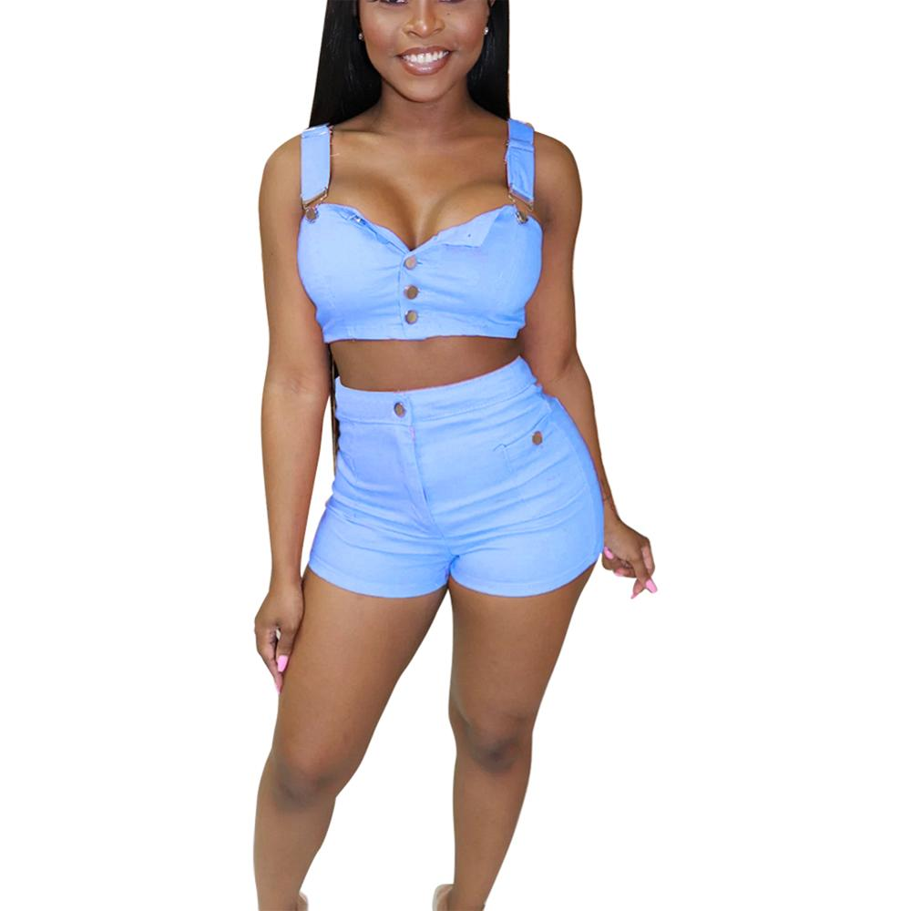 Sexy halter mouwloze vrouwen cross strap tweedelige outfit club jeans playsuit crop top shorts jumpsuit