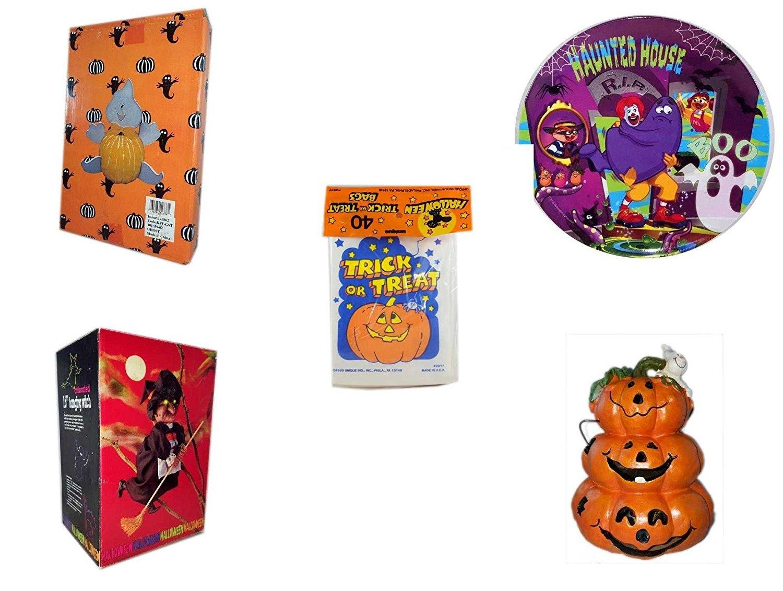 Halloween Fun Gift Bundle [5 piece] - Halloween Ghost Pumpkin Push In 5 Piece Head Arms Legs - McDonald's Haunted House, RIP, Boo Halloween Plate - Halloween Trick or Treat Bags 40/ct - Halloween An