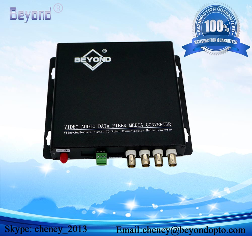 4-ch Video and Audio optical transceiver,4-ch Analog video with 4-ch Forward Audio to fiber converter