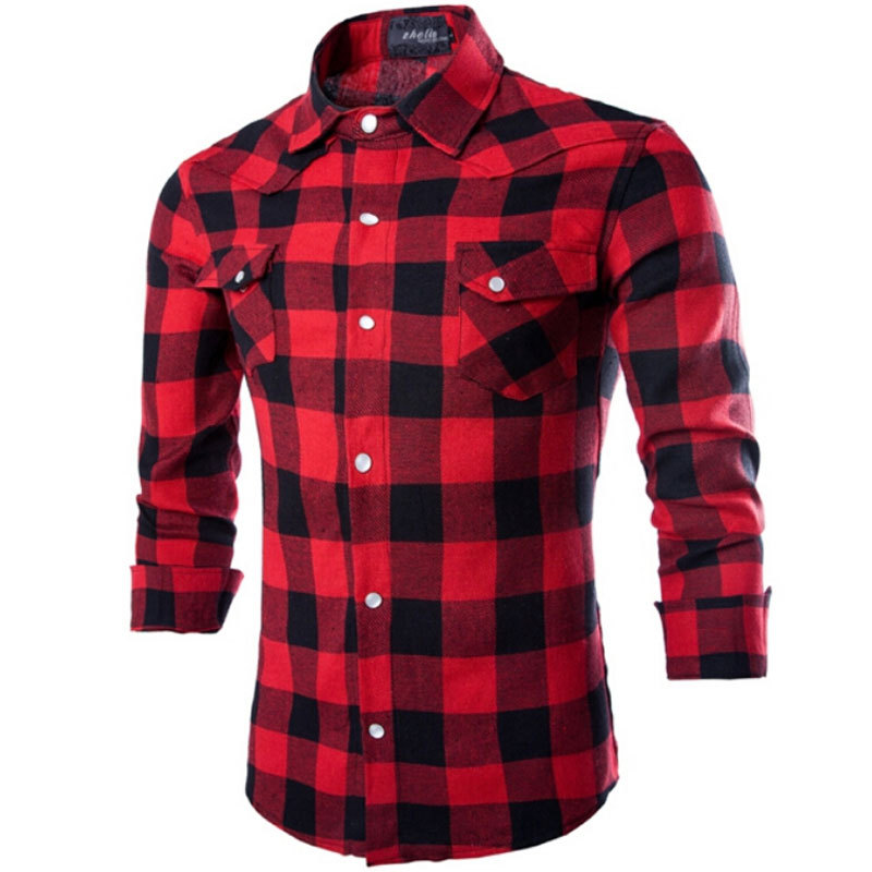 f9652d7a06 Get Quotations · Flannel Men Plaid Shirts 2015 New Autumn Luxury Slim Long  Sleeve Brand Formal Business Fashion Dress