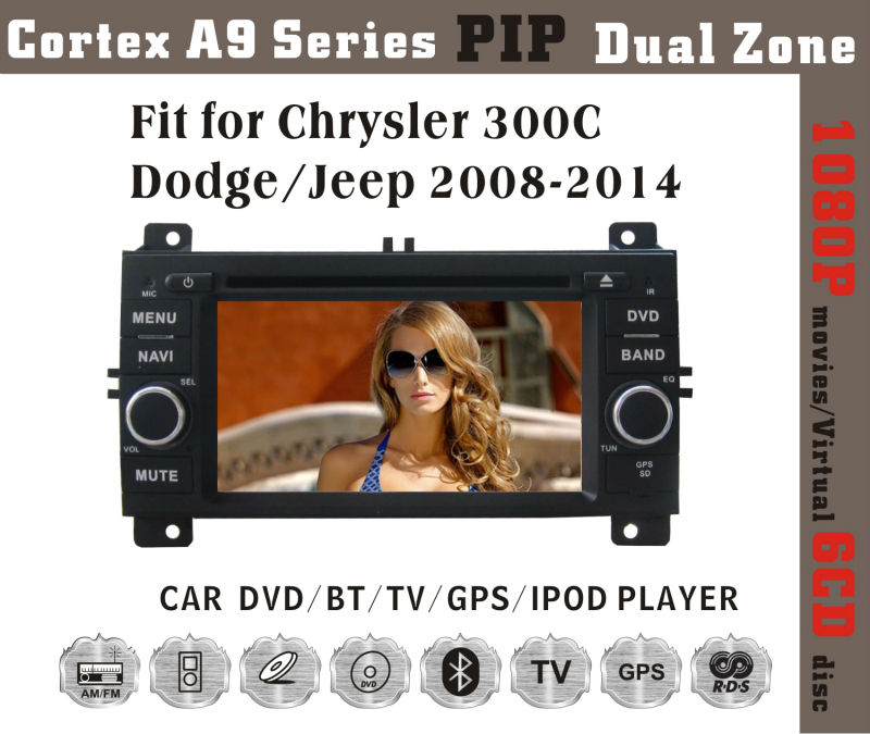 "6.2"" HD 1080P BT TV GPS IPOD Fit for Chrysler 300C/Jeep/dodge2005-2007 car multimedia player with gps"