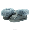 Wholesale casual winter metallic genuine leather lamb wool warm baby shoes with shoes laces