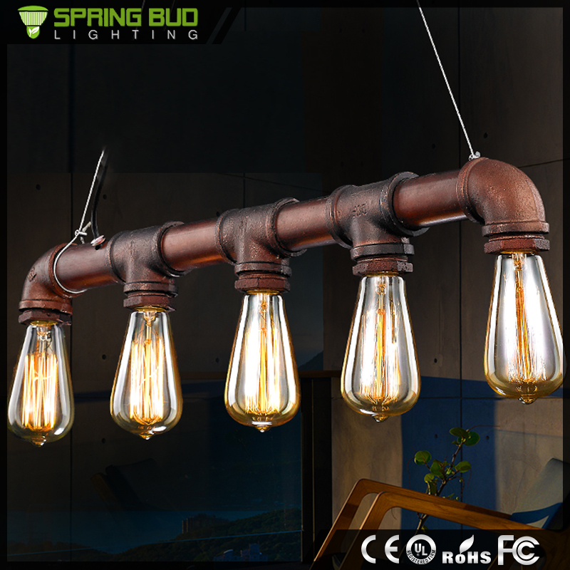 Europe market Popular E27*5 large size 5 head Vintage hanging light industrial water pipe pendant <strong>lamp</strong>