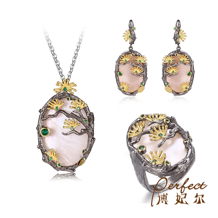 Fashion Black Gold Plated Synthetic Sapphire 925 Sterling Silver Pendant Jewelry Set