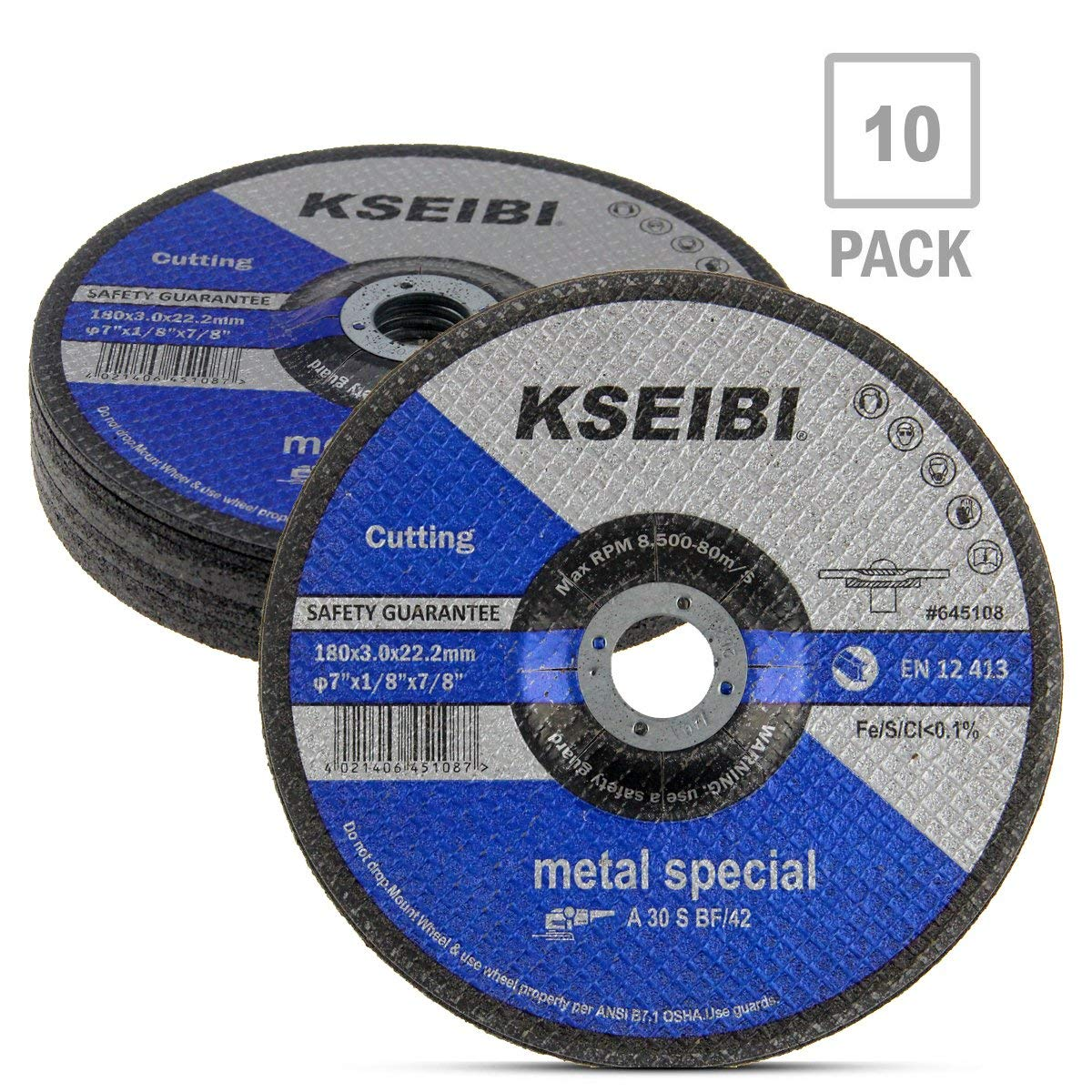 KSEIBI 645108 7-Inch by 1/8-Inch Metal Cutting and Grinding Disc Depressed Center Cut Off Grind Wheel, 7/8-Inch Arbor, 10-Pack