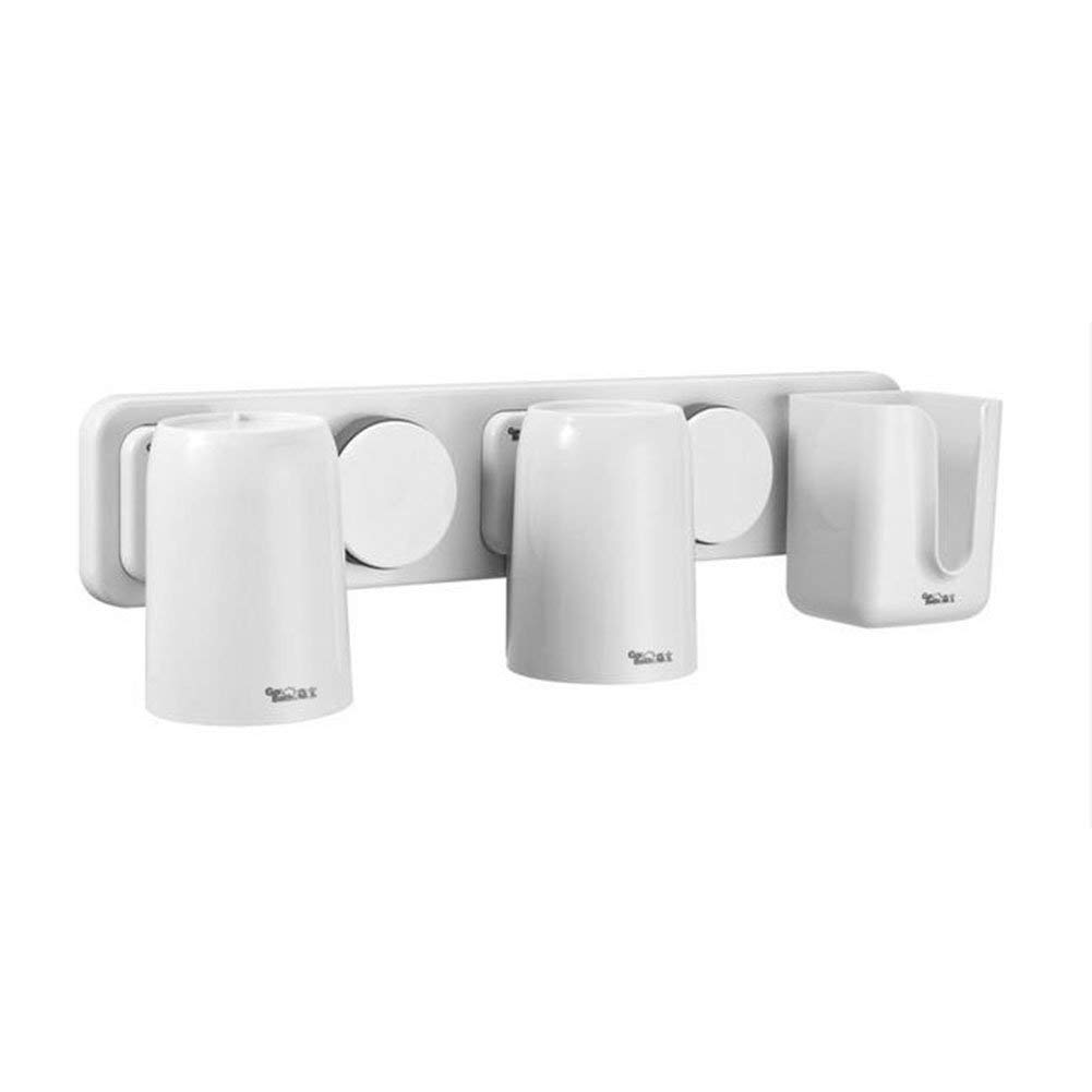 Cup Holders Easy-store Toothbrush Holder - Bathroom Multi-purpose Strong Suction Toothbrush Caddy - Detachable (White)