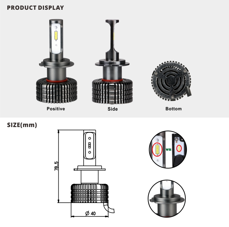 Tuffplus New Fan style H11 9005 9006 H7 led headlight