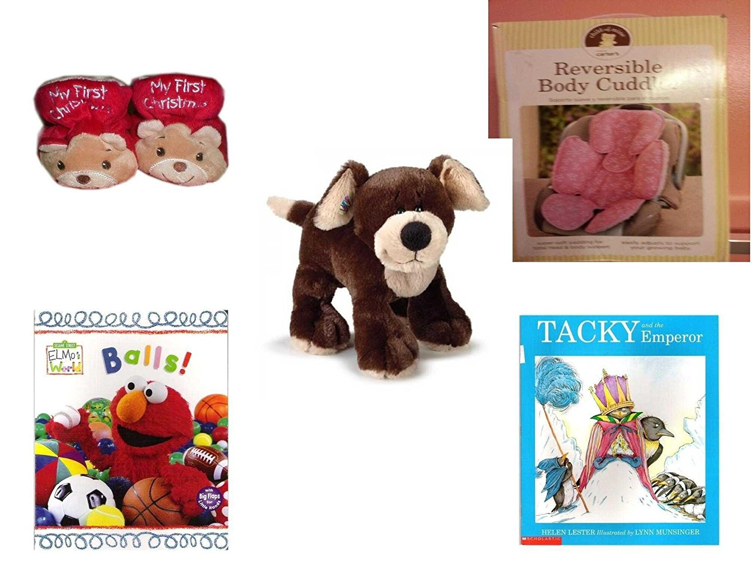 Children's Gift Bundle - Ages 0-2 [5 Piece] - Dan Dee My First Christmas Baby Bear Infant Booties Size 1-2 - Carter's Child of Mine Reversible Travel Time Body Cuddler Newborn/Baby, Pink - Webkinz H