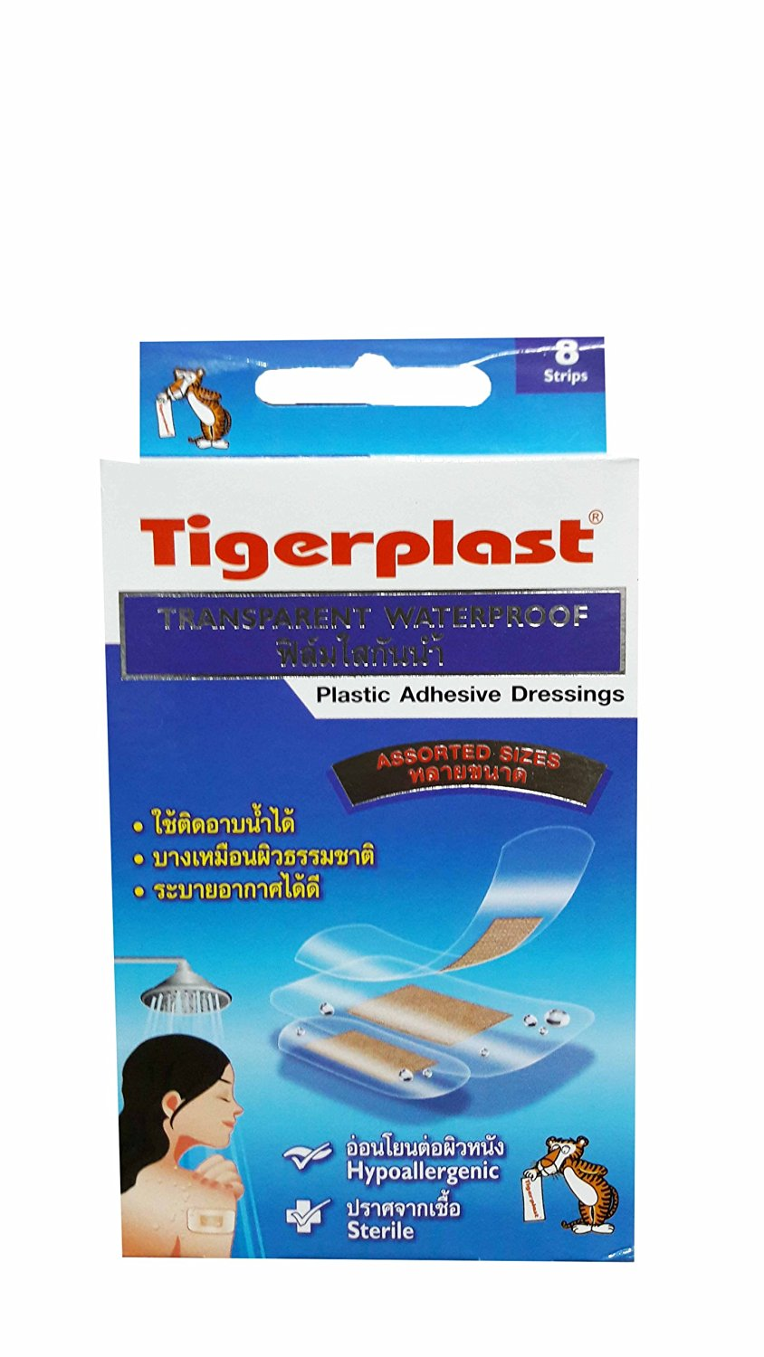2 packs of Tigerplast Transparent Waterproof. Plastic Adhesive Dressings, Assorted Sizes, Waterproof, Transparent Film, Absorbent Pad, Non-stick Pad. (8 Strips/ pack)