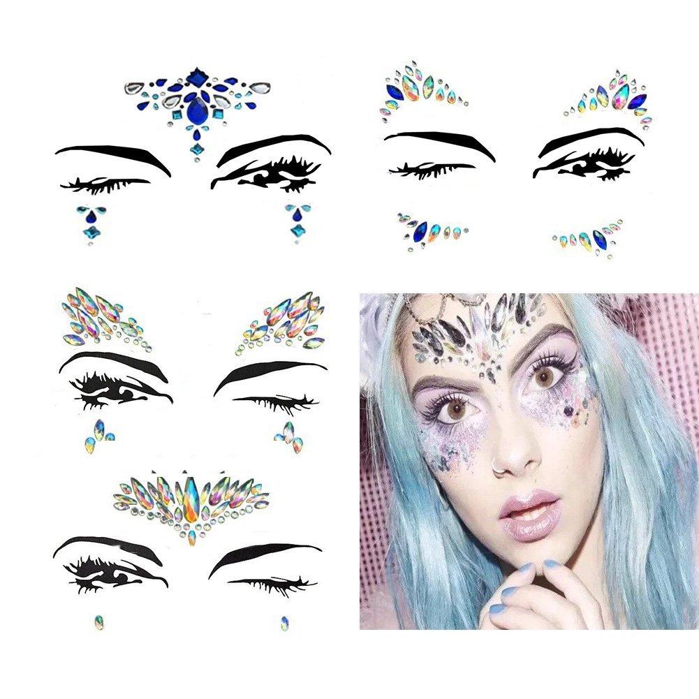 Get Quotations · 4 Sets Mermaid Face Gems Rhinestone Tattoo Festival Jewels  Eyes Face Body Temporary Tattoos Glitter Temporary babe36c88ba1