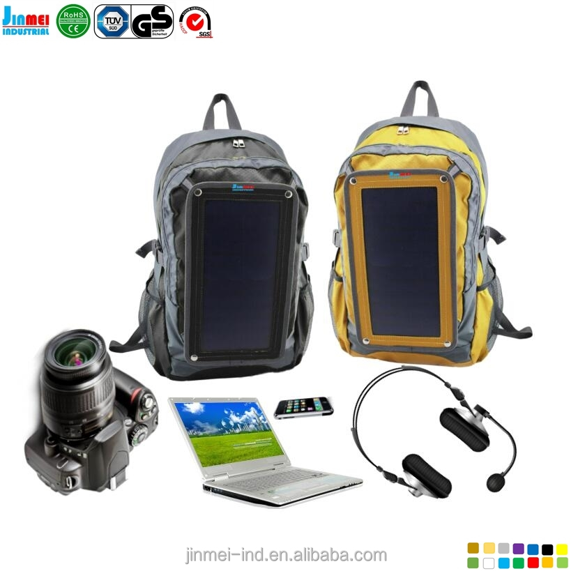 China Dongguan city wholesale new design High quality hot selling 6.5W anti-theft waterproof school bags solar backpack, JM-B007
