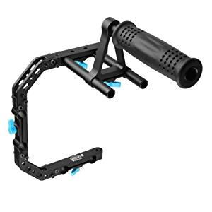 FOTGA DP3000 C-shape Bracket Cage +Top Handle Grip Support for 15mm Rod DSLR Rigs