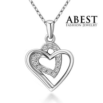 Elegant Heart Pendant Beautiful White Zircon 925 Sterling Silver Light Weight Fashion Design Jewelry Hot Sale Wholesale