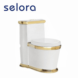 Golden color toilet set ceramic bathroom suites