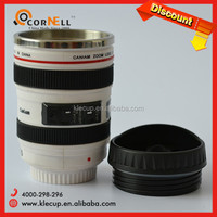 new unique company logo style white camera shape lens water bottle lens mug cup