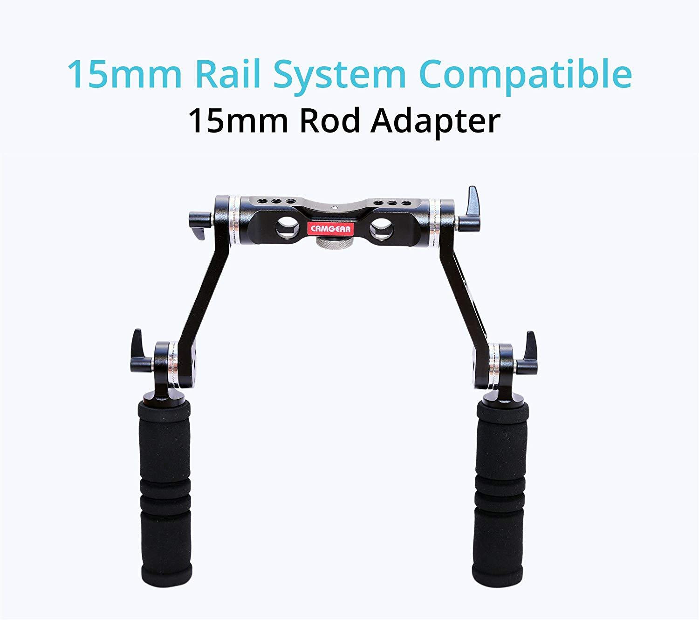 Camgear 15mm Rosette Handle Set (CG-15-RH) Comfortable Handgrip Support for Rod Rail, Camera Shoulder Rig Kit (Arri Standard)