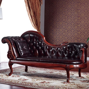 Chaise Lounge Sofa Antique Floral Fainting French Upholstered Couch Wood With Pillows