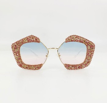 Wholesale anti-UV big round face personality sunglasses exaggerated with rhinestone hexagon sunglasses girl