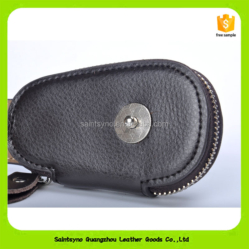 16639 High-end customized Genuine grain leather car key holder leather key pouch with zipper