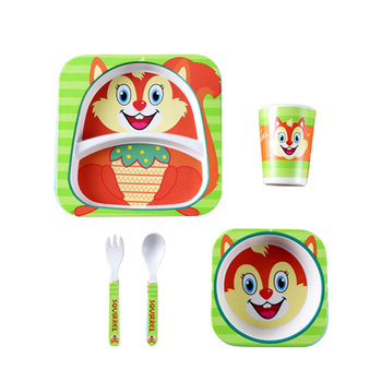 China Suppliers New Product Feeding Children Bamboo Fiber Animal Salad Children Dish Cup Fork Spoon Tableware 5 Sets