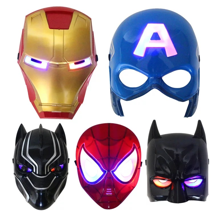 Hot verkoop kind LED masker Spider man/Avenger Halloween party flash Masker