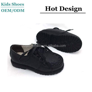 Classical new style fashion leather casual shoes rubber outsole black school shoes for children